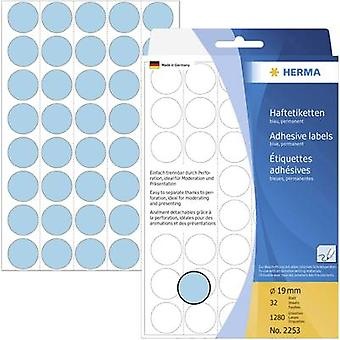 Herma 2253 Labels (hand writable) Ø 19 mm Paper Blue 1280 pc(s) Permanent adhesive Sticky dots