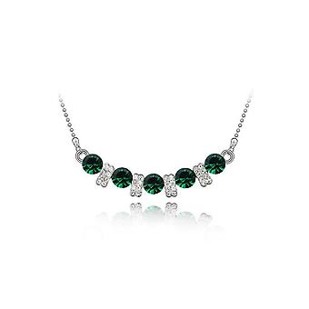 Womens Crystal Dark Green Colour Stone Pendant Necklace