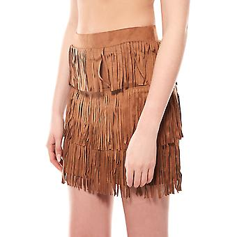 Melrose fringe skirt mini skirt ladies faux leather Brown