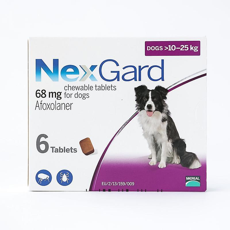 NexGard mastica por medio de perros 10-25kg (24.1-60lbs), paquete de 6