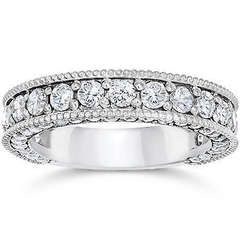 2 1/8 karat Vintage Diamond giftering 14K hvitt gull