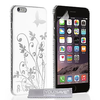 iPhone 6 Plus And 6s Plus Floral Butterfly Hard Case - White
