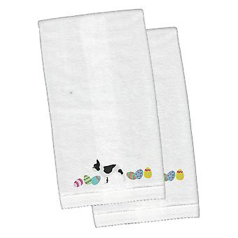 French Bulldog Easter White Embroidered Plush Hand Towel Set of 2