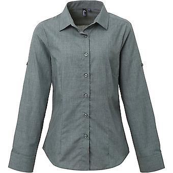 Premier Womens/Ladies Poplin Cross-Dye Roll Sleeve Corporate Shirt