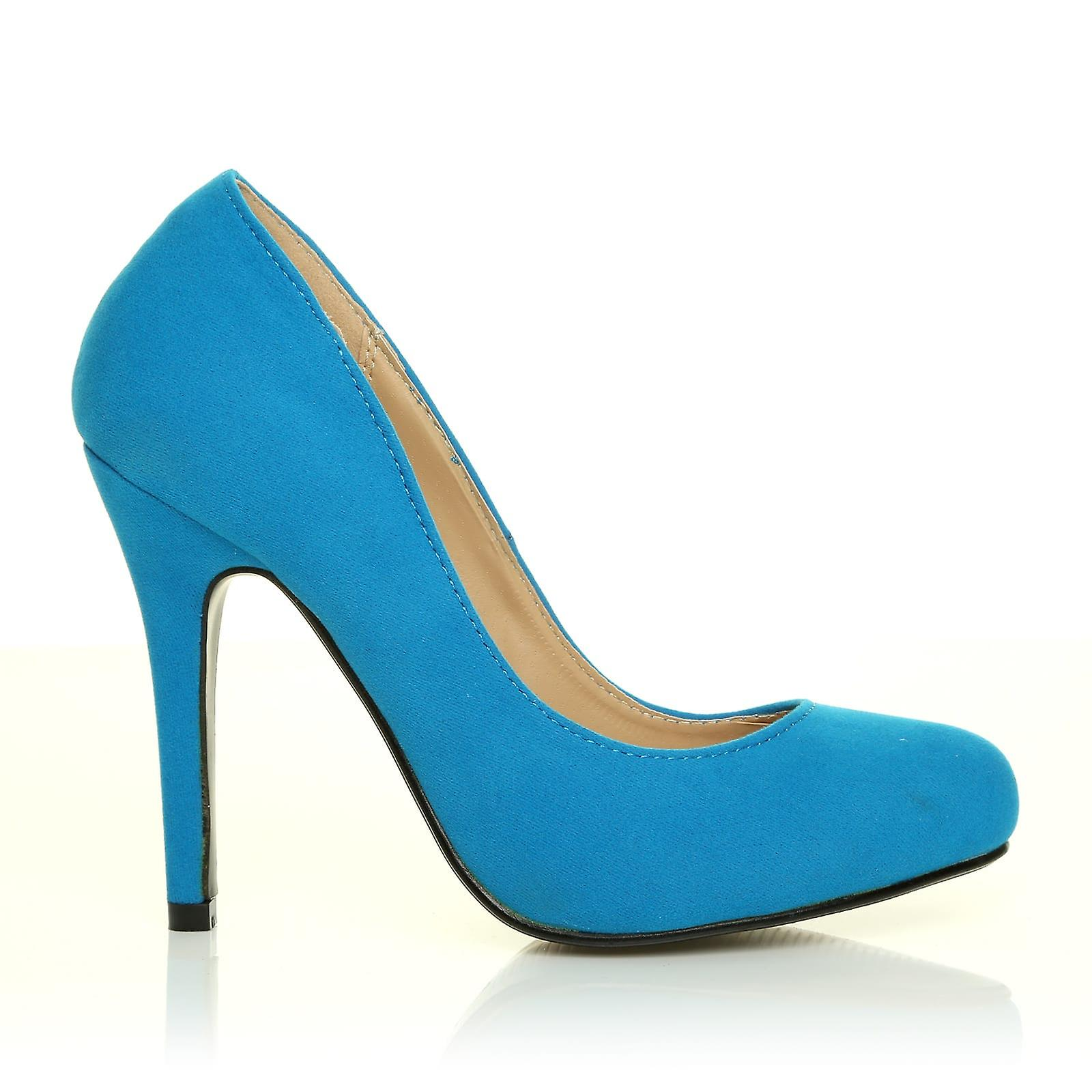 HILLARY Turquoise Heel Faux Suede Stilleto High Heel Turquoise Classic Court Shoes 27d22b