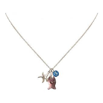 Ladies - - pendant - necklace 925 Silver - Starfish - fish - pink - blue - 45 cm