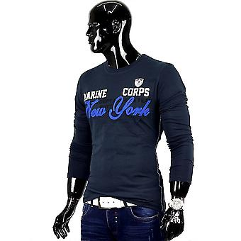 Men's New York long sleeve long sleeve shirt Figurbetont clubwear slim fit sweater
