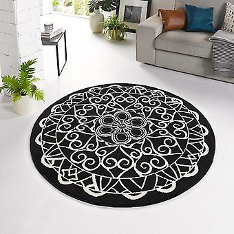 Designer Velours Teppich Mandala Schwarz Rund