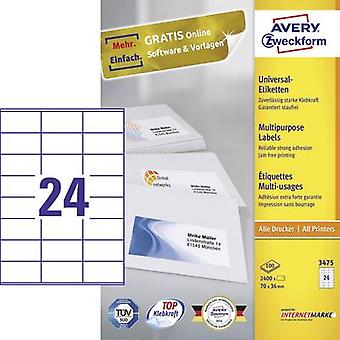 Avery-Zweckform 3475 Labels 70 x 36 mm Paper White 2400 pc(s) Permanent All-purpose labels Inkjet, Laser, Copier 100 she