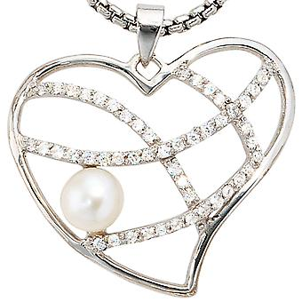Pendant heart 925 sterling silver 1 Freshwater Pearl with cubic zirconia beads pendant