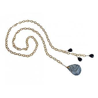 Damen - Halskette  - Lariat - Vergoldet - Achat -Tropfen - Blau - Schwarz - 100 cm