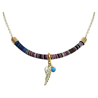 Damen - Halskette - Anhänger - 925 Silber Vergoldet - AZTEC - BOHO - Flügel - Türkis - Blau