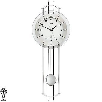 Seinä kello Radio kävely kellon kanssa heiluri hopea moderni heiluri kello lasi