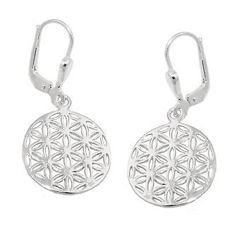 Brisur 32x16mm earring flower of life, shiny Silver 925