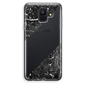 Samsung Galaxy A6 (2018) Transparent Case (Soft) - Black marble