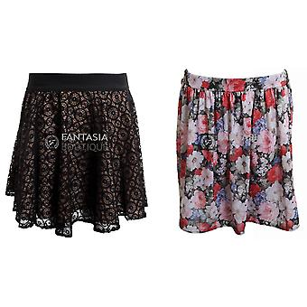 D1359 New Ladies Floral Print Mesh Insert Pattern Women's Short Skirt
