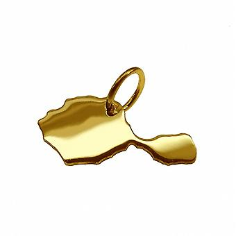 Trailer map TAHITI pendant in solid 585 gold