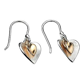 Elements Silver Double Heart Drop Earrings - Silver/Gold