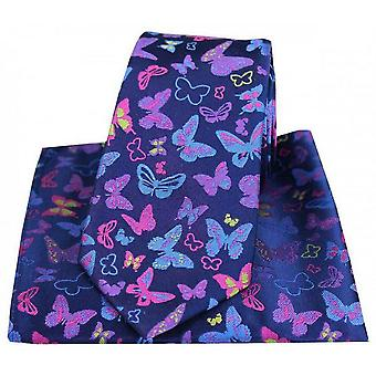Posh and Dandy Butterflies Tie and Pocket Square Set - Navy