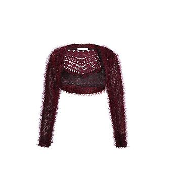 KRISP  Women Ladies Fluffy Knit Cropped Cardigan Shrug Bolero Sweater Top Winter Blazer