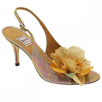 Renata Sling Bk Metallic Pink Skin Beige Flower