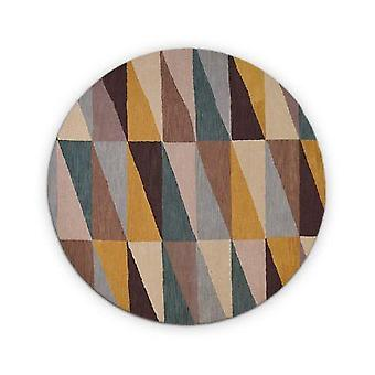 Hand Tufted 3d Stripe Design Wool Round Rug