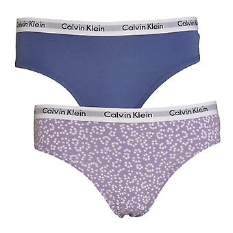 Calvin Klein Girls 2 Pack Modern Cotton Bikini Brief, Hearts Chalk Violet / Coastal Fjord, Medium