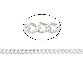 10m x zilveren vergulde ijzeren legering 2.2 x 2.8mm gesloten Curb Chain CH1930