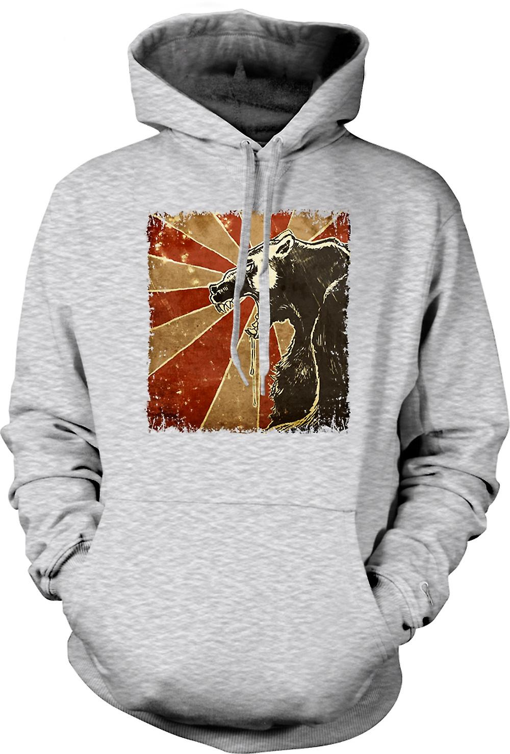 Mens Hoodie - Russian Bear - Cool Retro Poster