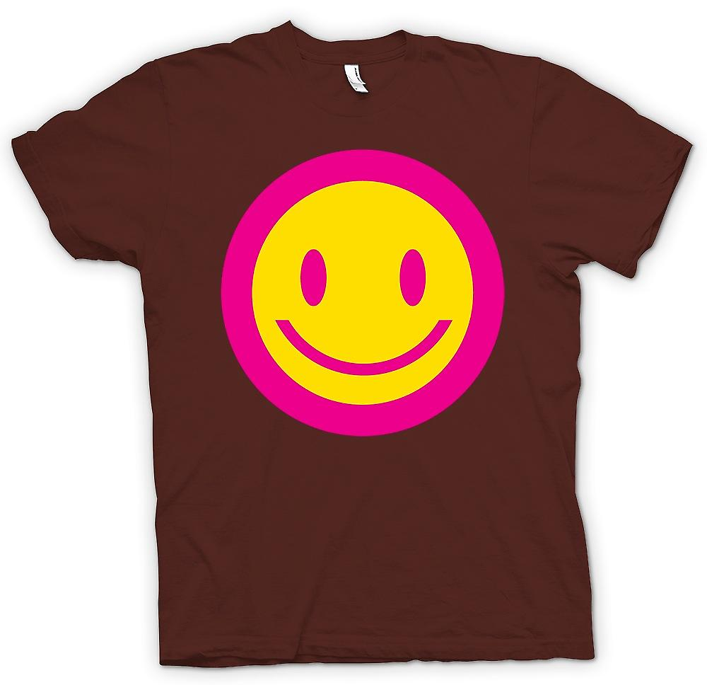 Heren T-shirt - roze Smiley Face - Acid Kids