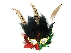 Multi Coloured Feathered Mask (1)