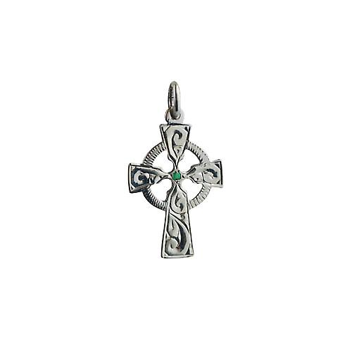 Silver 23x16mm hand engraved Emerald set Celtic Cross