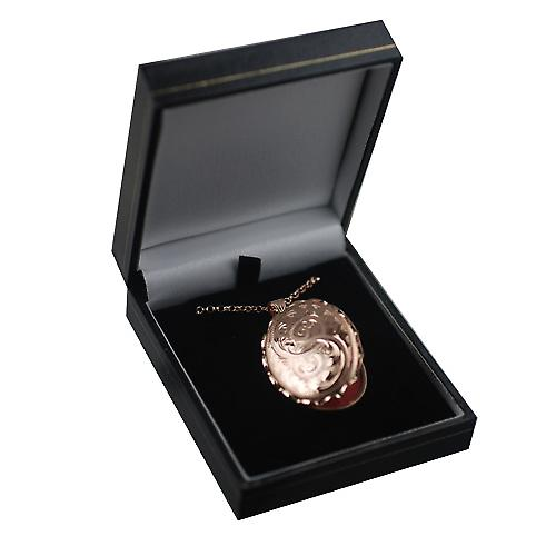 9ct Rose Gold 37x28mm hand engraved oval Locket with a belcher Chain 18 inches