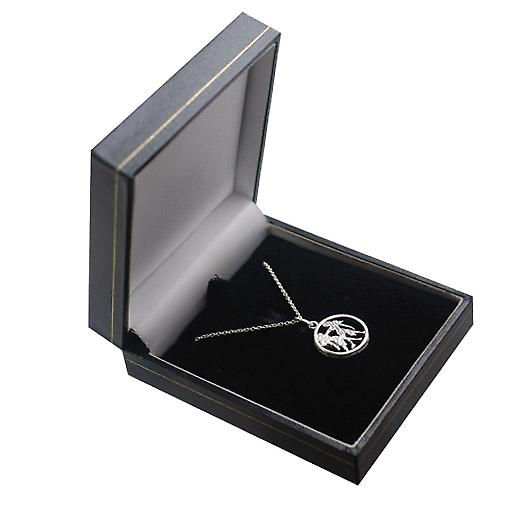 Silver 11mm pierced Gemini Zodiac Pendant with a rolo Chain 14 inches Only Suitable for Children