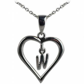 Silver 18x18mm initial W in a heart Pendant with a rolo Chain 20 inches