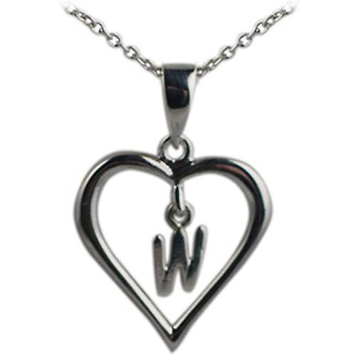 Silver 18x18mm initial W in a heart with rolo chain