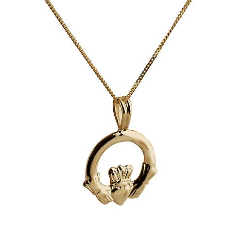 9ct Gold 20x15mm Claddagh Pendant with a curb Chain 16 inches Only Suitable for Children