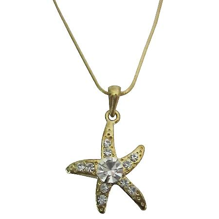 Gold Pendant Star Flower Embedded w/ Cubic Zircon Necklace