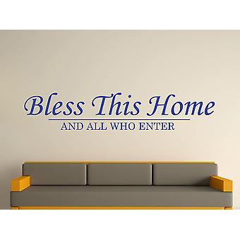 Bless This Home Wall Art Sticker - Brilliant Blue