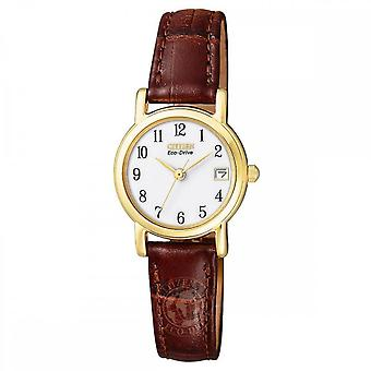 Citizen Ladies' Gold Plated Brown Leather Strap Watch