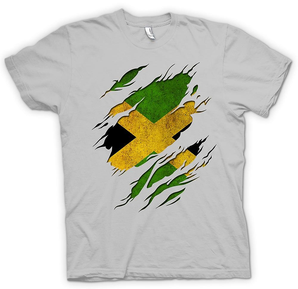Mens T-shirt - Jamaica Flag Grunge Ripped Effect