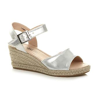Ajvani Womens mid heel summer buckle espadrille platform wedge sandals