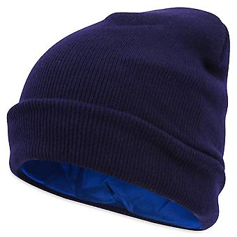 Unisex silk lined beanie - combats hair loss and frizzy hair - navy blue