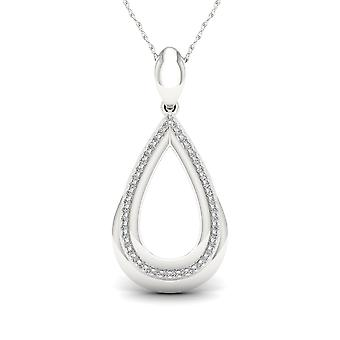 IGI Certified S925 Sterling Silver 0.15Ct TW Diamond Accent Drop Necklace