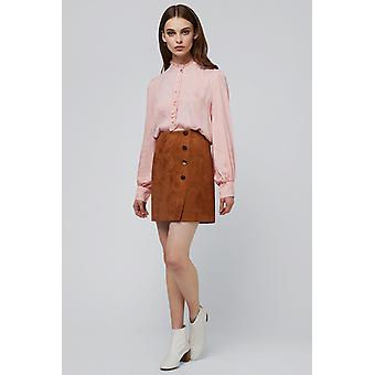 Louche Meryl Suedette Button Skirt Brown