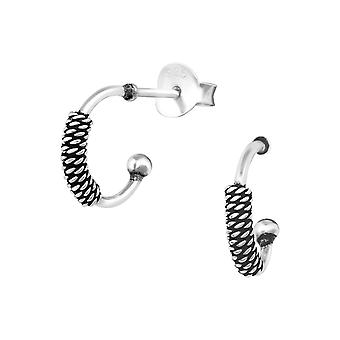 Bali Half Hoops - 925 Sterling Silver Plain Ear Studs - W38645X