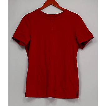 Denim & Co. Women's Top Essentials Button Henley Red A291613