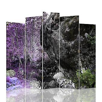 Decorative Room Divider, 5 Panels, Canvas, Boulder In The Woods