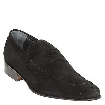Gamuza negra penny mocasines zapatos de cuero hechos a mano