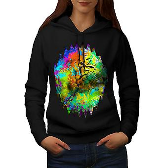 Wellcoda | Tiger-Gesicht-Kopf Art Womens Black Hoodie